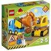 LEGO DUPLO Town - Camión y Excavadora con Orugas, manualidades niños y niñas de 2 a 5 años, incluye muñeco y grúa de juguete (10812)