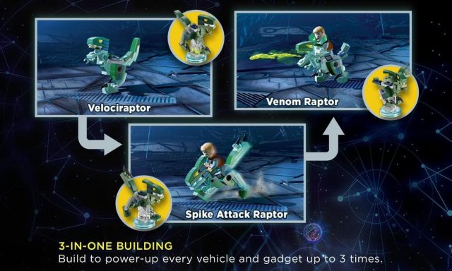 lego dimensions costruzioni alternative raptor