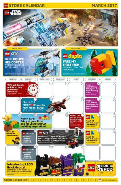Calendario LEGO Store Marzo 2017
