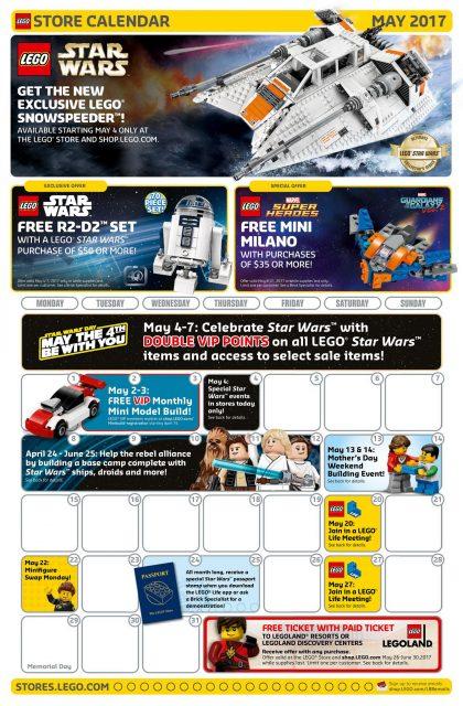 Calendario LEGO Store Maggio 2017