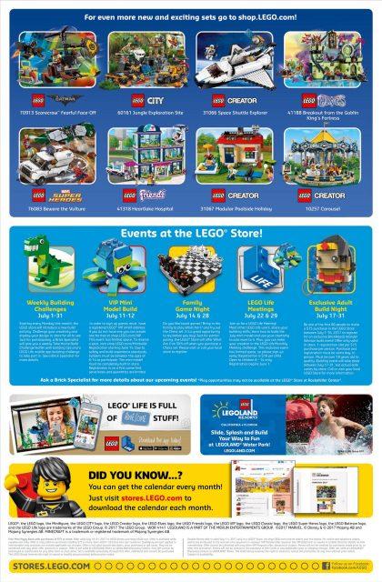 calendario LEGO Store USA Giugno 2017 Retro