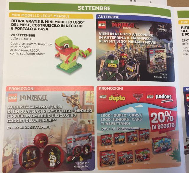Promozioni LEGO Store Italia Settembre Ottobre 2017