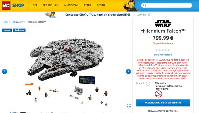 LEGO Star Wars UCS Millennium Falcon 75192 non disponibile