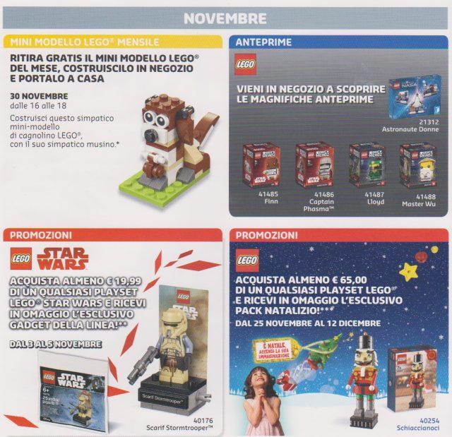 Promozioni LEGO Store Italia Novembre Dicembre 2017