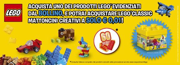 """599668bcd16e CoopOnline ha lanciato una promozione per festeggiare i 60 anni di LEGO   acquistando sul sito uno dei prodotti LEGO evidenziati dal bollino """"60  Years"""""""