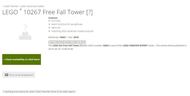 LEGO Creator Free Fall Tower (10267) Listino