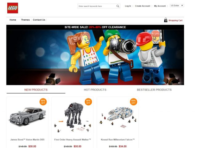Un sito web LEGO fasullo