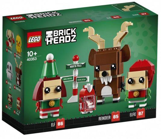 LEGO Brickheadz Christmas Reindeer, Elf, and Elfie (40353)