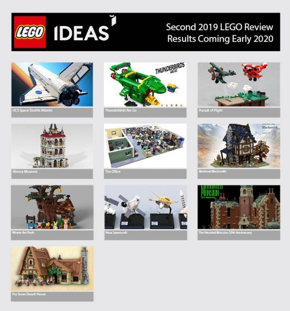 i 10 Progetti LEGO Ideas Qualificati per la Seconda Fase di Revisione 2019
