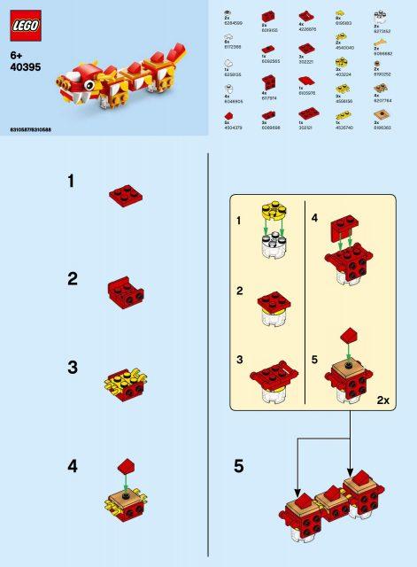 LEGO istruzioni drago capodanno cinese