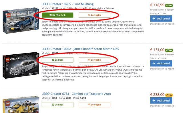 Pulsanti per gestione collezione sulla lista dei set LEGO