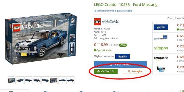Pulsanti per gestione collezione sulla pagina del set LEGO